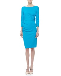Escada 3 4 Sleeve Ruched Jersey Dress