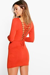 Boohoo Cara Lace Up Back Detail Bodycon Dress Rust
