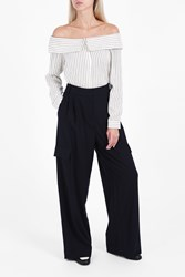 Tibi Wide Leg Twill Trousers Navy