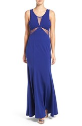Sequin Hearts Women's Illusion Mesh Gown