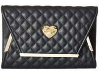 Love Moschino Envelope Clutch With Gold Detailing Black Clutch Handbags