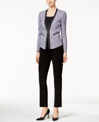 Tahari By Arthur S. Levine Tahari Asl Tweed Pant Suit Purple Black