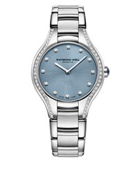 Raymond Weil Noemia Blue Dial Diamond Accented Stainless Steel Bracelet Watch Silver