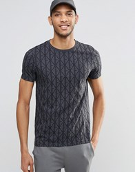 Asos T Shirt With All Over Print Black