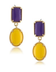 1St And Gorgeous Purple Yellow Cabochon Double Drop Earrings Gold