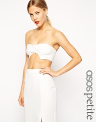 Asos Petite Exclusive Twisted Textured Front Bralet White
