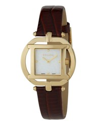 Escada Belle Gold Ip Watch W Embossed Leather Strap Brown