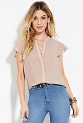 Forever 21 Pintucked Chiffon Blouse Blush