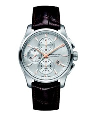 Hamilton Jazzmaster Auto Chrono Stainless Steel And Embossed Leather Strap Watch Brown Silver