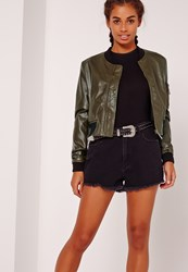 Missguided Faux Leather Bomber Jacket Khaki Beige