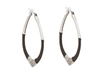The Sak String Forward Third Arabesque Hoop Earring Black Silver Earring
