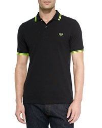 Fred Perry Twin Tipped Polo Shirt Soho Black Neon Yellow