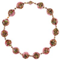 Eclectica Vintage 1950S Gold Plated Venetian Glass Bead Floral Necklace Pink Multi