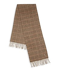 Yves Saint Laurent Plaid Wool And Cashmere Scarf Brown Tan