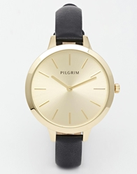 Pilgrim Gold Plated Clean Watch With Leather Strap Black