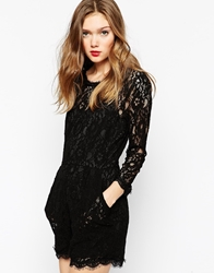 Aryn K Long Sleeve Lace Romper Black