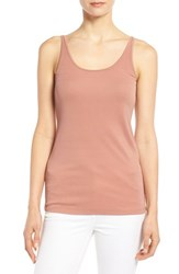 Women's Eileen Fisher Long Scoop Neck Camisole Toffee Cream
