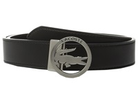 Premium Leather Belt Lacoste Cutout Buckle Black Women's Belts