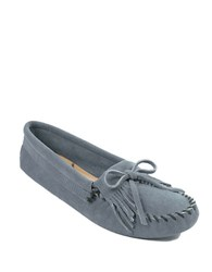 Minnetonka Kilty Suede Driver Moccasins Storm Blue