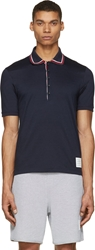Thom Browne Navy Striped Polo