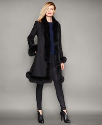 The Fur Vault Fox Fur Trim Cashmere Walker Coat Black