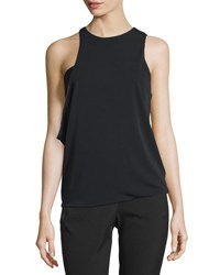 Halston Sleeveless Jewel Neck Asymmetric Draped Top Black