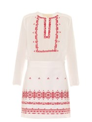 Vanessa Bruno Exo Embroidered Cotton And Linen Blend Dress White Multi
