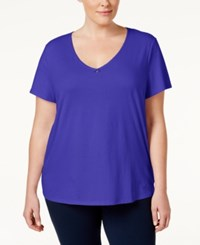 Nautica Plus Size V Neck Pajama Top Violet