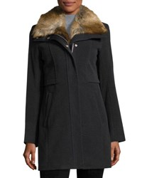 Marc By Andrew Marc New York Haven Fur Trim Coat Charcoal