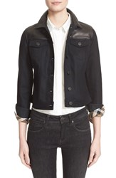 Women's Burberry Brit Leather And Denim Jacket