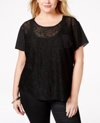Ing Plus Size Short Sleeve Lace Top Black Black