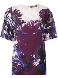 Roberto Cavalli Floral Print T Shirt Pink And Purple