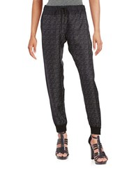 Dkny Printed Silk Track Pants Black