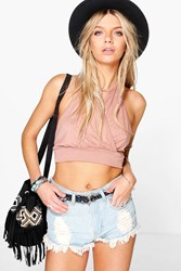 Boohoo Wrap Front Halter Crop Copper