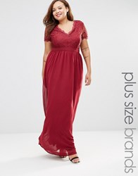 Club L Plus Maxi Dress With Scallop Lace Top Berry Red