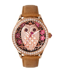 Betsey Johnson Ladies Owl Motif Rose Goldtone And Leather Strap Watch Tan
