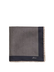 Brioni Chain Link Print Silk Pocket Square Navy Multi