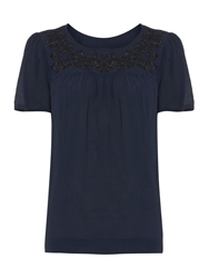 Linea Folklore Embroidered Top Navy