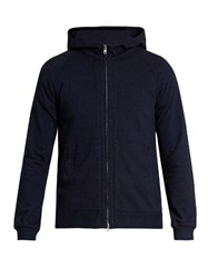 Blue Blue Japan Hooded Zip Through Cotton Sweatshirt Navy
