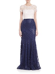 David Meister Sequined Lace Two Tone Gown White Blue