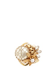 Miriam Haskell Caged Baroque Pearl Crystal Flower Ring White