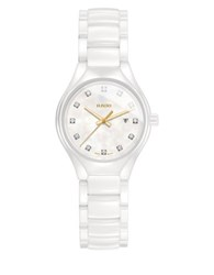 Rado True High Tech Ceramic Diamond Studded Bracelet Watch White