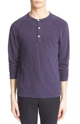 Men's Todd Snyder Long Sleeve Cotton Jersey Henley Navy