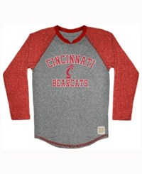 Retro Brand Men's Cincinnati Bearcats Color Block Long Sleeve T Shirt Gray