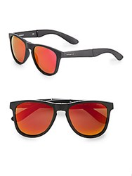 Polaroid 55Mm Foldable Wayfarer Sunglasses Black Orange
