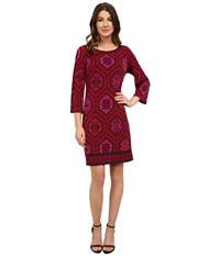 Laundry By Shelli Segal Emilio Border Boat Neck Dress Cherry Women's Dress Red