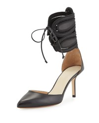 Francesco Russo Leather D'orsay Ankle Cuff Pump Black Nero