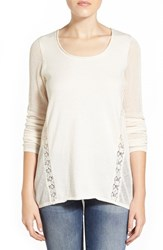 Women's Lucky Brand Lace Inset Cotton And Cashmere Knit Tunic Nigori