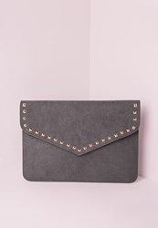 Missguided Stud Trim Envelope Clutch Bag Grey