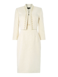 Shift Dress And Jacket In Jacquard Pattern Ivory